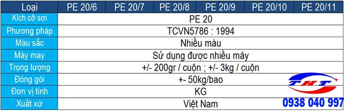 CHỈ MAY BAO PE-20