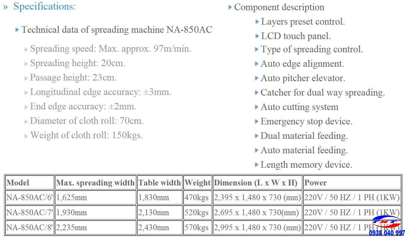 MÁY TRẢI VẢI TỰ ĐỘNG TSM NA-850AC